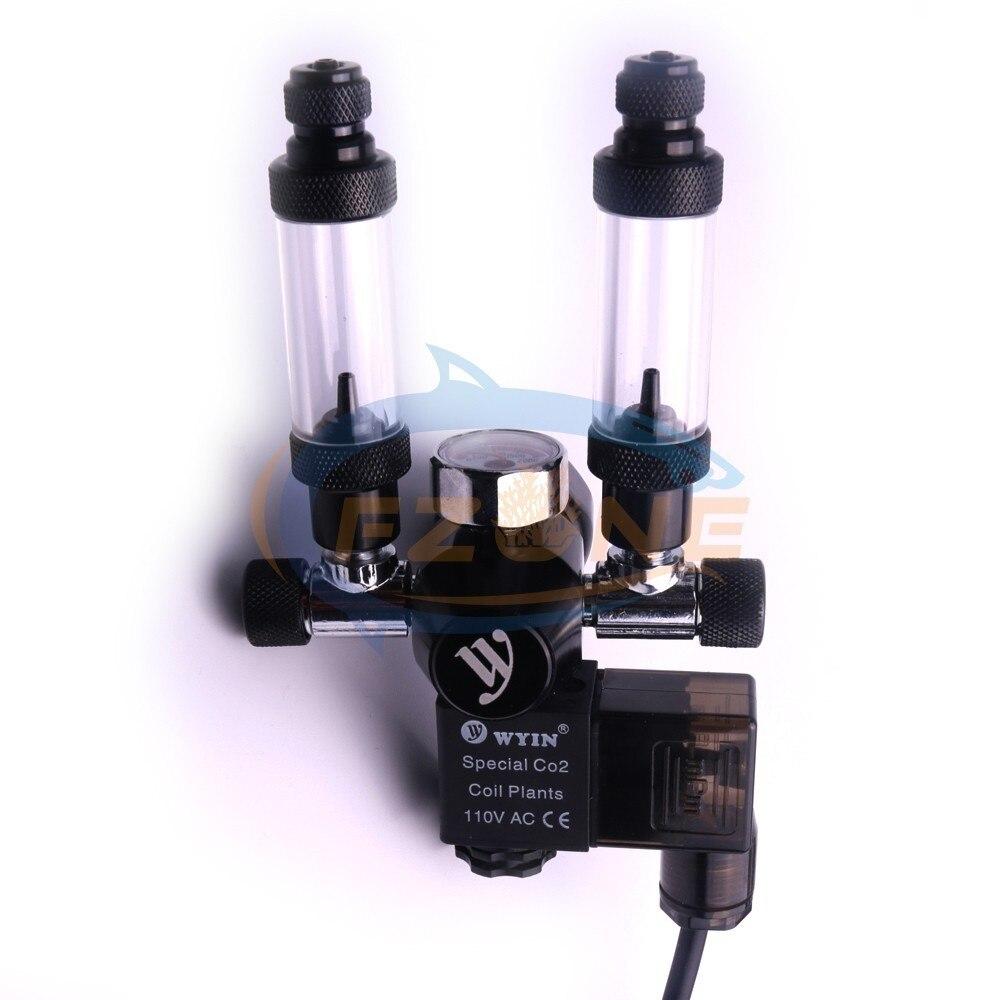 Acuario Wyin doble salida calibre CO2 regulador con válvula de contador de burbujas de válvula de solenoide y Kits de instalación - 4