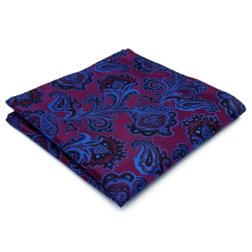 KH13 Paisley Purple Handkerchief Mens Jacquard Woven Pocket Square Wedding 12.6