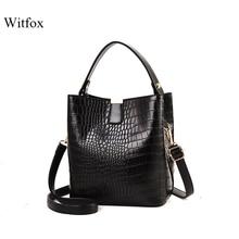Witfox Alligator pattern bucket for women handbag black luxury fake designer shoulder bags modern trend