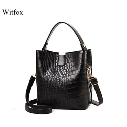 Witfox Alligator pattern bucket for women handbag black luxury fake designer women shoulder bags modern trend
