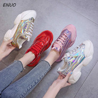Laser Glitter Women's Chunky Sneakers Fashion Women Platform Shoes Lace Up Pink Vulcanize Shoes Womens Female Trainers Dad Shoes
