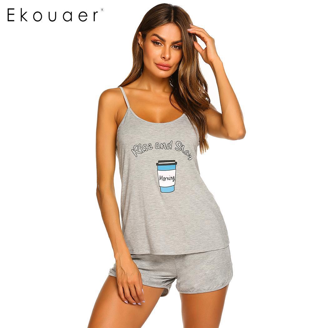 Ekouaer Women Summer Lingerie Sleepwear Shorts   Pajamas   Round Neck Adjustable Spaghetti Strap Printed   Pajama     Set