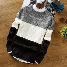 Men Knitted Thin Sweater O-Neck Pullover Winter Autumn Fashion Warm Casual Striped Sweatercoat Tops High Quality Dropship