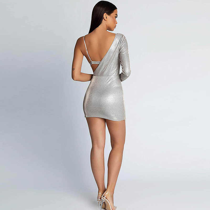 d2c09fa39f5 ... Colysmo Shiny Silver One Shoulder Open Bra Sexy Dress Women Long Sleeve  Club Party Dress Fake ...