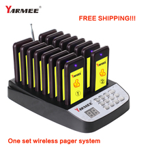 Free Shipping !! YARMEE wireless queue number calling system restaurant pager restaurant equipment for 16 pcs receivers daytech wireless restaurant calling pager queue system 1pcs panel display 5 pcs waterproof wireless call buzzer button 433mhz