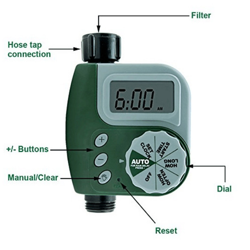 Outdoor Garten Bewässerung Controller Magnetventil Timer Einzel Outlet Programmierbare Schlauch Wasserhahn Bewässerung Timer System