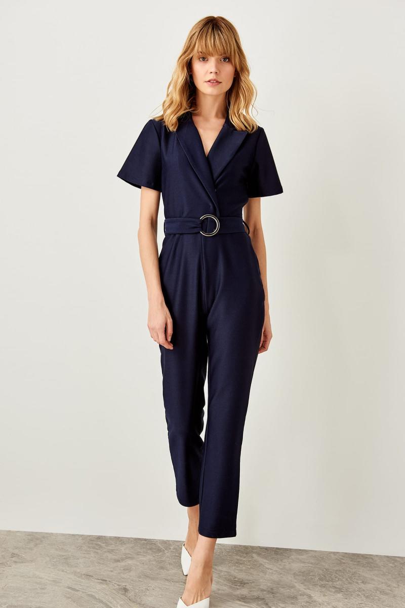 Trendyol Navy Kemerli Knitted Jumpsuit TWOSS19XM0122