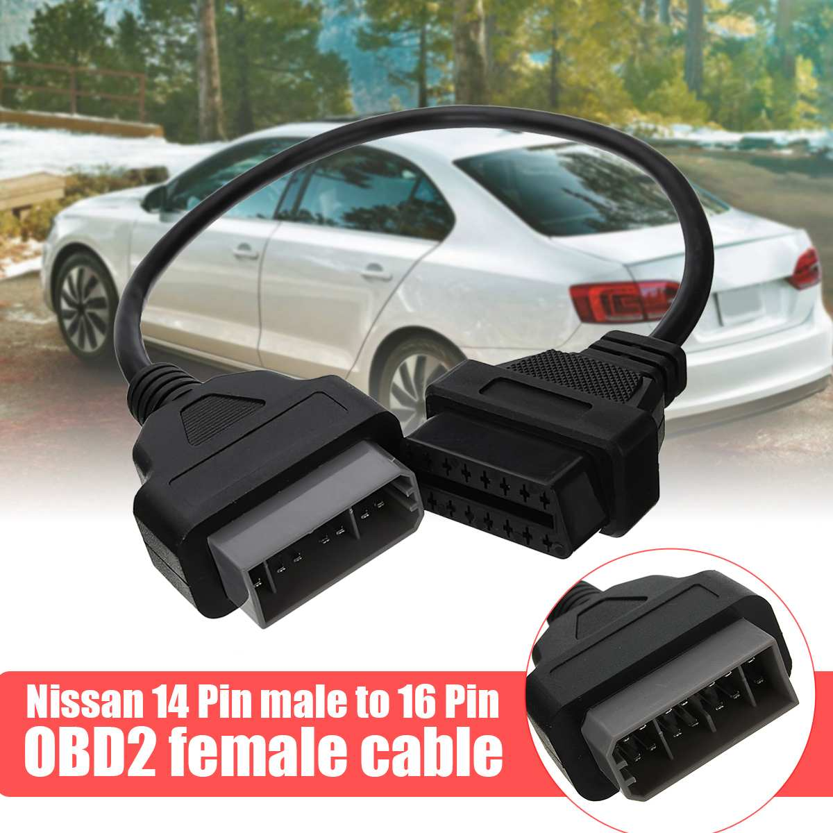 For Nissan <font><b>14</b></font> <font><b>Pin</b></font> To 16Pin Cable OBD II Diagnostic Interface 14Pin To <font><b>OBD2</b></font> 16 <font><b>Pin</b></font> <font><b>Adapter</b></font> Works For Auto Car Vehicles image
