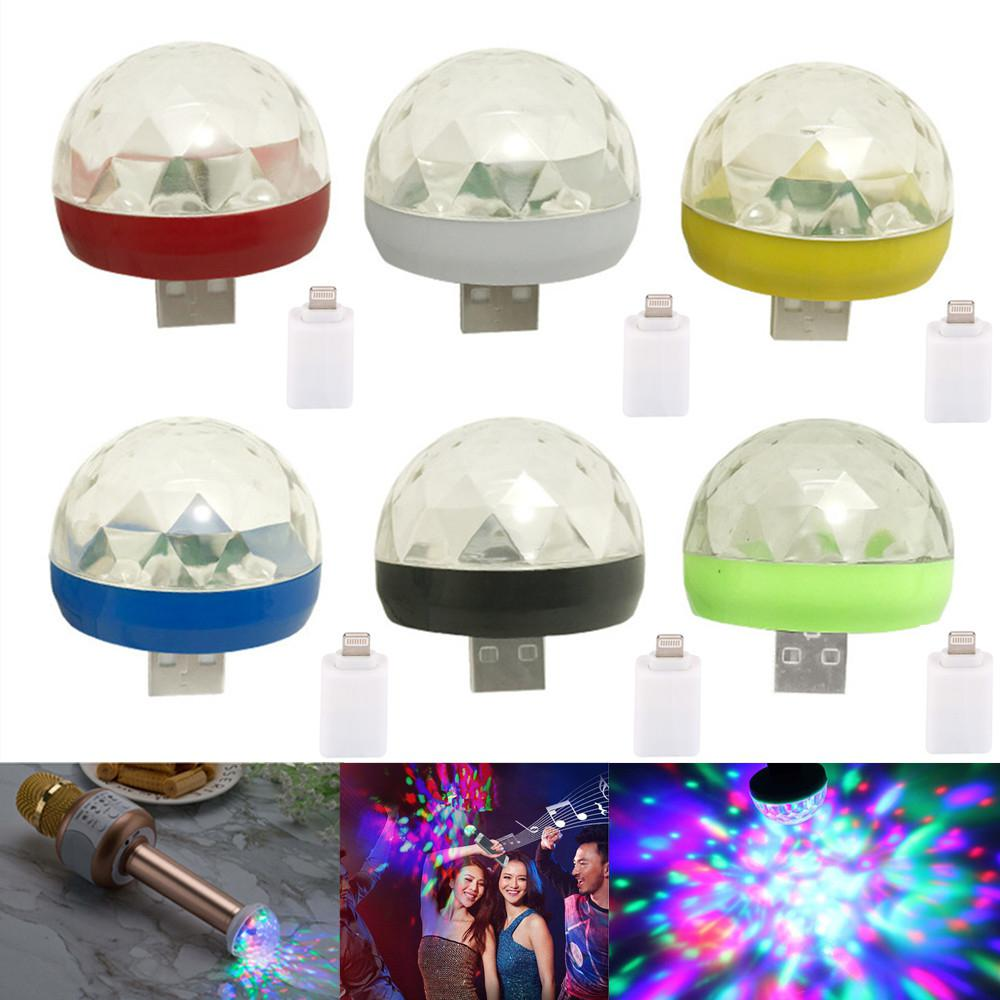 LumiParty LED Party Light Sound Control Crystal Magic Ball Stage Lamp With Adapter Music Stage Light LED Disco Light For Iphone