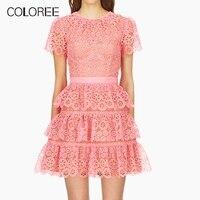 Elegant Pink Ruffles A line Hollow Out Lace Summer Dress Women 2019 High Quality Designer Self Portrait Dress