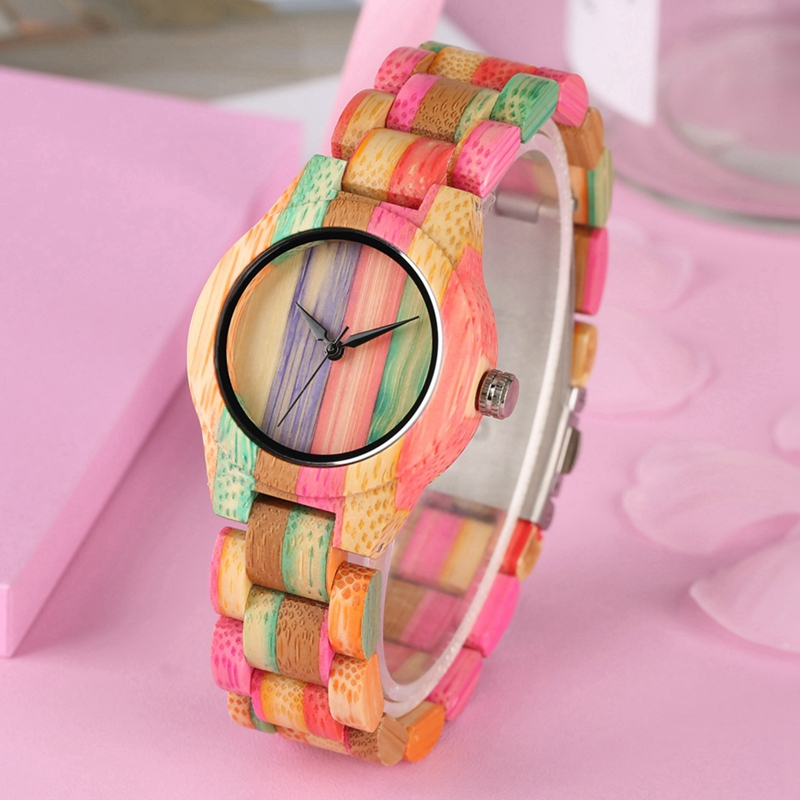 Image 3 - Top Luxury Colorful Wood Watch Womens Quartz Full Bamboo Wooden Clock Female Fashion Candy Color Bracelet Hour Lady Wrist WatchWomens Watches   -