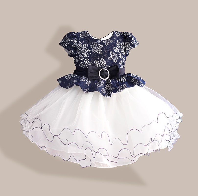 Novo poletje Diamond Silk Bow Girl Party Dress Poroka Birthday Girls Obleke Tutu Style Princess Oblačila za otroke 3-8T