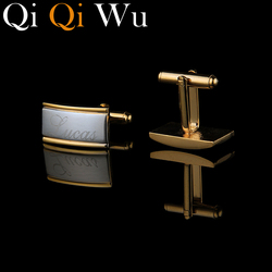 Qi Qi Wu Gold Engraved Cuff Buttons Wedding Gifts For Guests Personalized Cufflinks French Shirt Men's Jewelry Wiht Gift Box