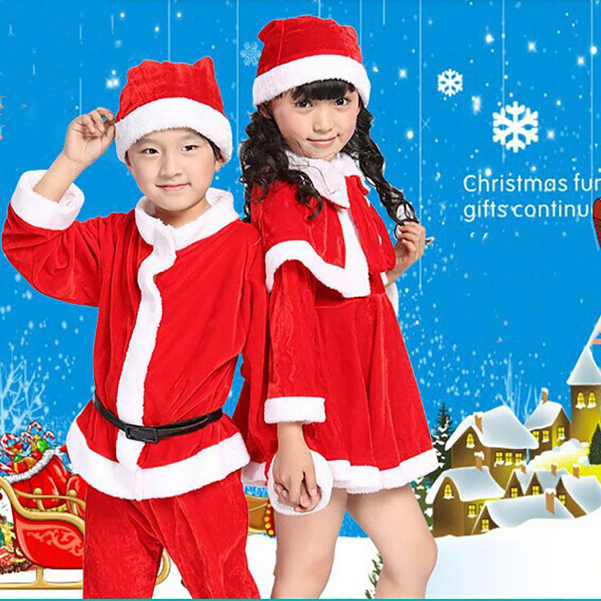 Christmas New Year Family Costumes for Boy Girl Party Halloween for Kids Santa Dress for Girl  Claus Toddler Party Xmas Cosplay