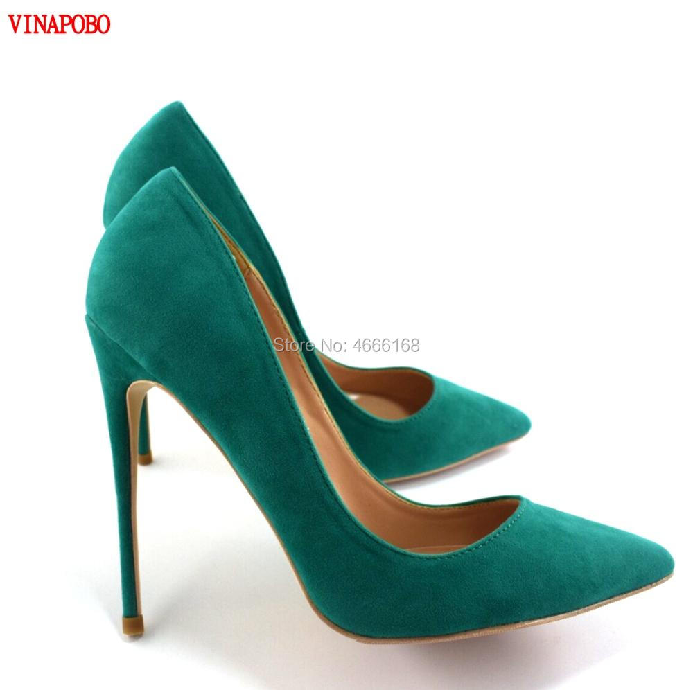 Womens Shoes Stilettos High Heels green suede leather Shoes Pumps Women Heels Sexy Pointed Toe High