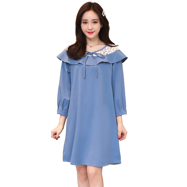 Pengpious 2019 spring new maternity fashion loose mini dress three quarter  sleeve lace patchwork pregnant woman chiffon dress 82bf558d6859