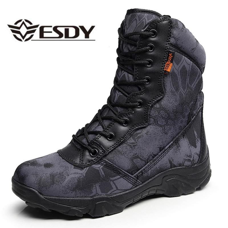 Acampamento ao ar Táticas à Prova Camuflagem dos Homens de Treinamento Livre Escalada Wearproof Botas Água Caça Desert Selva Respirável Sapatos Altos d'