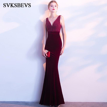 SVKSBEVS 2019 Elegant Beading Deep V Neck Velvet Mermaid Long Dresses Party Bodycon Crystal Tank Backless Maxi Dress