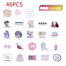 46Pcs Cute Vaporwave Label Kawaii Sticker Diary Handmade Adhesive Paper Flake Japan Sticker Scrapbooking Stationery Board Game(China)