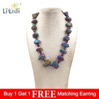 LiiJi Unique Mutil Color Titanium Quartzs Rough Stone Fashion Necklace Jades Toogle Clasp 20inches/50cm Nice gift for Women