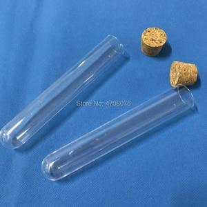 Image 3 - 12x100mm 15 pçs/lote tubo de ensaio com rolha de Plástico PS material de laboratório para experimento científico laboratório tubo de fundo redondo planície final