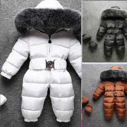 Neue fuchs pelz kragen Unten jacke für jungen und mädchen neue baby dicken winter schneeanzug