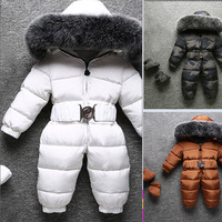 New fox fur collars Down jacket for boys and girls new baby thick winter snowsuit
