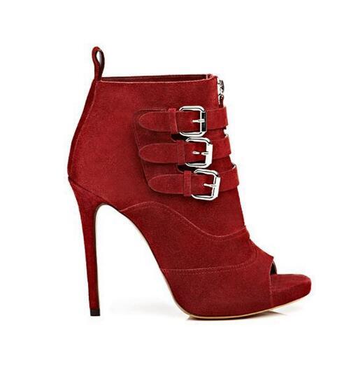 Calcetines Plataforma Zapatos Hebilla Sandalias Alta Picture De Picture As Tobillo as Pista Peep Cremallera Vestir Rojo Con Correa Toe Frontal Botas Moda Tacones YZTqz