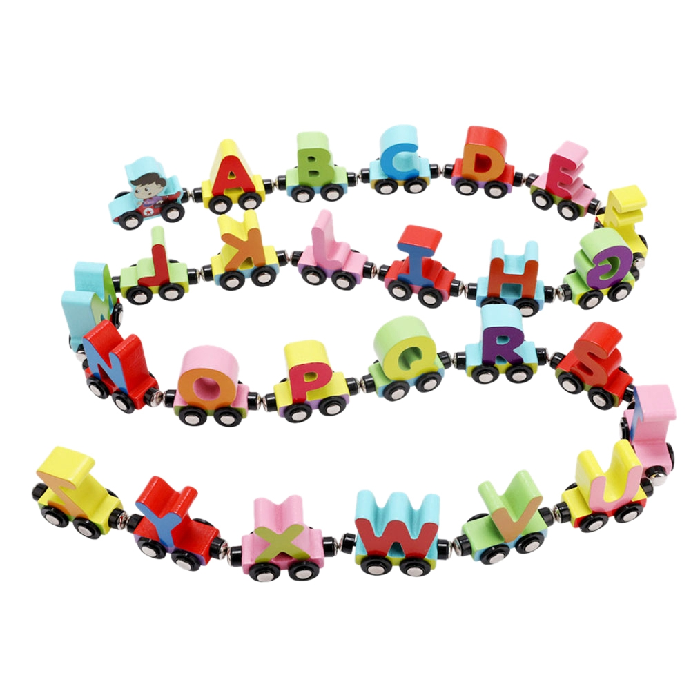 FBIL-MWZ 26 English Letters Small Train Wooden Toys Children 1-3 Years Old Puzzle Cognitive Magnetic Letters Car Early Educati
