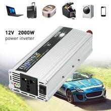лучшая цена 2000W WATT DC 12V to AC 220V Portable Car Power Inverter Charger Converter