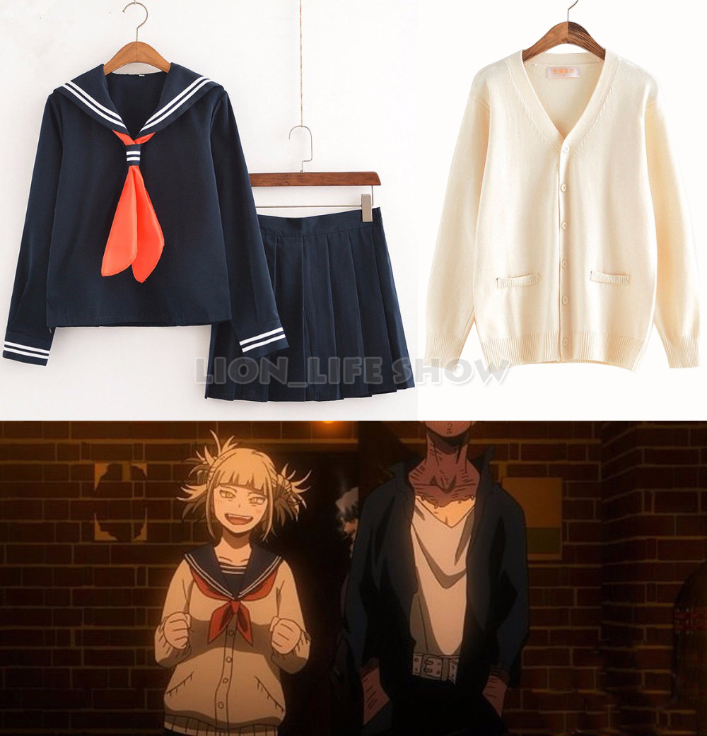 Anime My Hero Academia Himiko Toga Costume Boku no AcademiaCosplay JK Uniform Sweater Cardigan Suit