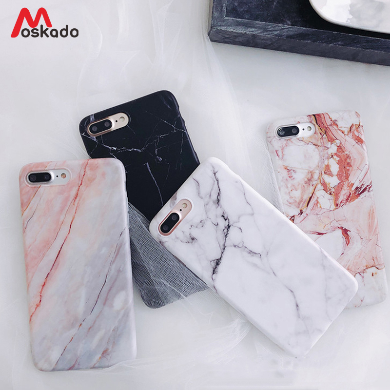 Moskado Phone Case For IPhone 6 6s 7 8 Plus Luxury Glossy Granite Stone Marble Texture