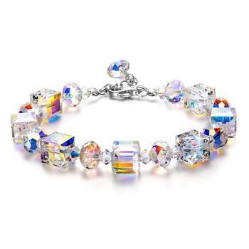 S925 Sterling Silver Bracelet High Grade Charming Czech Crystal Sugar Shape Bracelet For Women