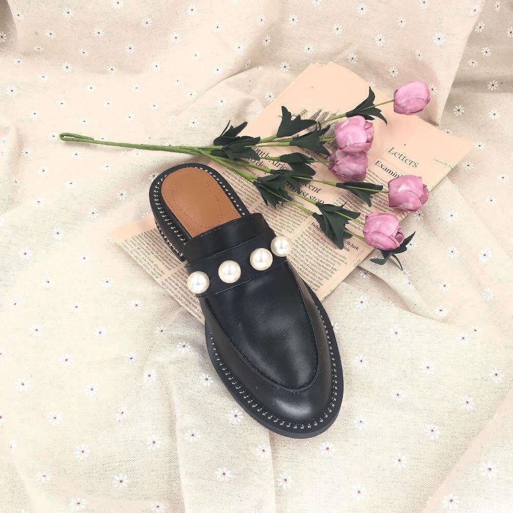 black apricot Estate Reale Nuove Alta Cuoio white Donne brown White2 Tacco Perle black2 Sandali 2019 Muli Qualità Morbide Scarpe Pantofole Di pink Delle Piatte Modo xw6qBH