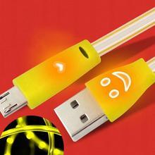Sorrindo Rosto Brilhando V8 do DIODO EMISSOR de luz Micro USB cabo de macarrão Cabo do carregador Cabo de dados para o sistema android telefones celulares #027