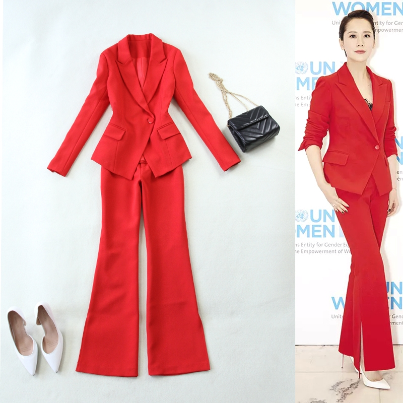 2 piece set women's 2019 autumn and winter new long-sleeved big red Slim one-button suit suit jacket and trumpet pants suit