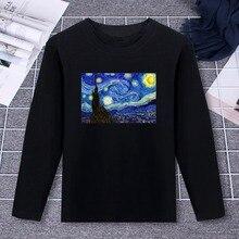 aac33363fd 2019 Pure Cotton T-Shirt Van Gogh Starry Night Classic Design Printed Long  Sleeve Fashion