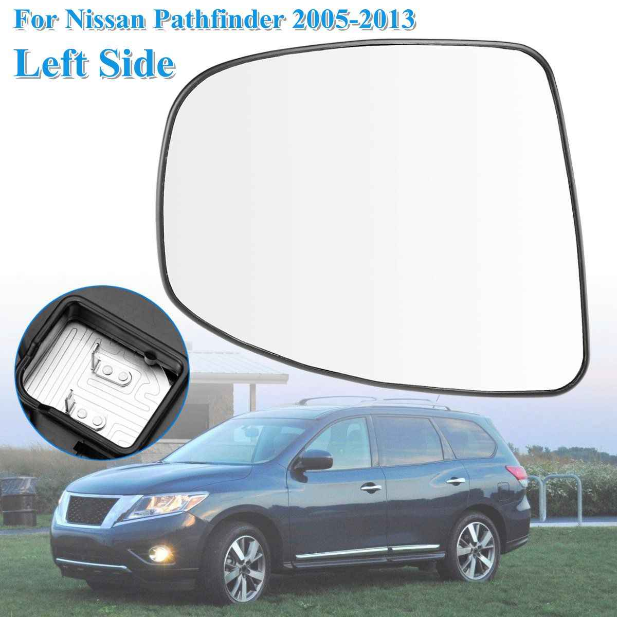 Replacement Right Left Side Door Heated Wing Mirror Glass with Heated  Function for Nissan Pathfinder R51 2005 06 07 08 09-13