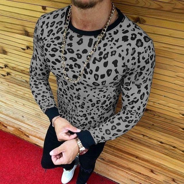 822f5674 Top Quality Men Long Sleeve High Collar Leopard Print T Shirt Fashion 2019  Early Spring Slim