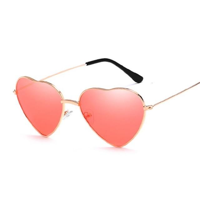 Fashion Heart Shaped Sunglasses Women Small Size Brand Designer Lady Metal Reflective Ties Red Sun Glasses Female UV400