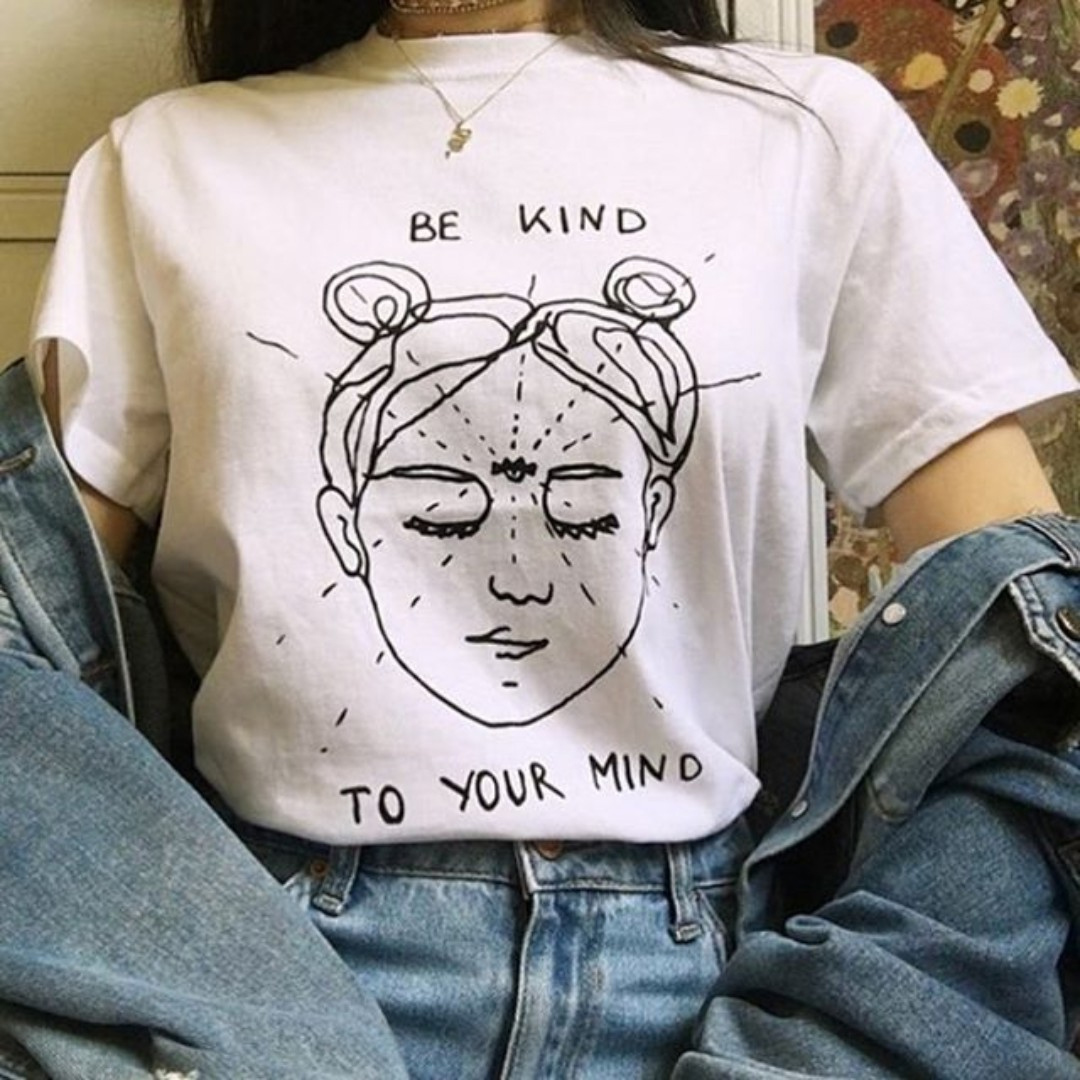 Be Kind To Your Mind Funny   Shirts   Mind Graphic   T     Shirt   Summer Short Sleeve Aesthetic Grunge Tees Women Tee Tops Clothing