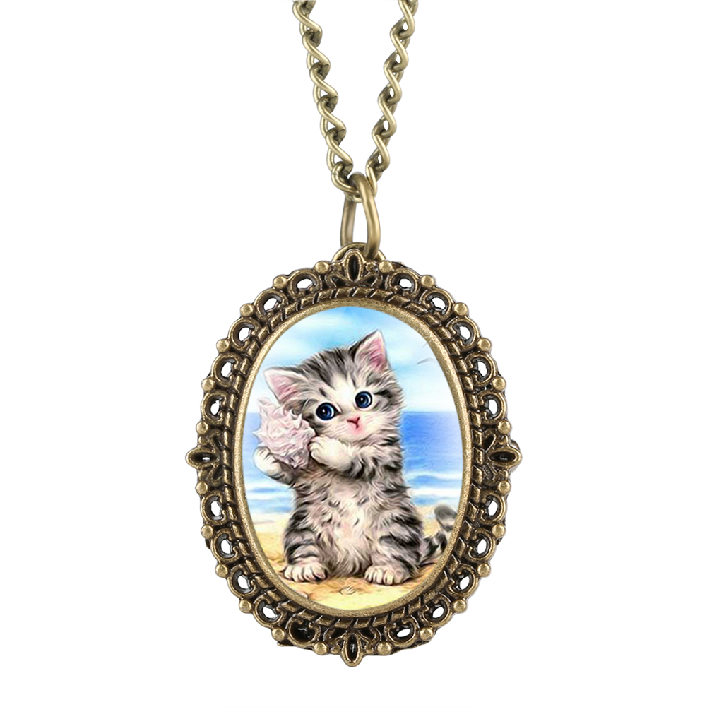 Bronze Pink Kitty Patch/Cherry Kitty/Cat Pocket Watch for