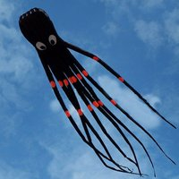 3D 26ft 8m Single Line Black Octopus POWER Sport Huge Soft Kite Outdoor Toy Software Power Sport Flying Kite Outdoor Easy To Fly