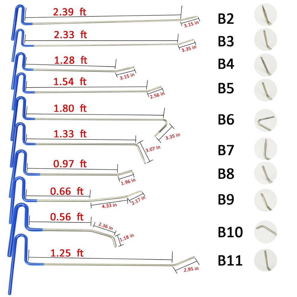 WEYHAA PDR Tools PDR Rod Hooks 10pc with Dent Paintless Repair Tool Kit for Car Dent Repair PDR Sheet Metal Tool Set Remove Dent in Sheet Metal Tools Set from Automobiles Motorcycles