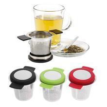 Нержавеющая сталь многоразовая чайная корзинка для заварки мелкоячеистый ситечко для чая с ручками крышки фильтры для чая и кофе для рассыпного чайного листа