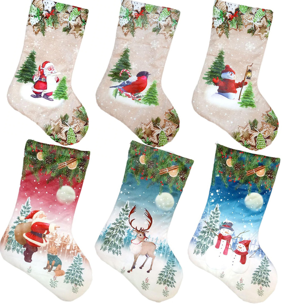 Christmas Stockings Cartoon.Us 0 95 41 Off 1pcs Rustic Christmas Tree Stocking Cartoon Santa Claus Sock Gift Bag Kids Xmas Candy Bag Decor Ornaments New Year Supplies 2018 In