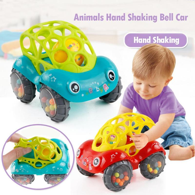 Colorful Animals Plastic Bell Car Non-Toxic Baby Hand Shaking Rattle Toy Animals Hand Jingle Shaking Bell Car Gift For Children