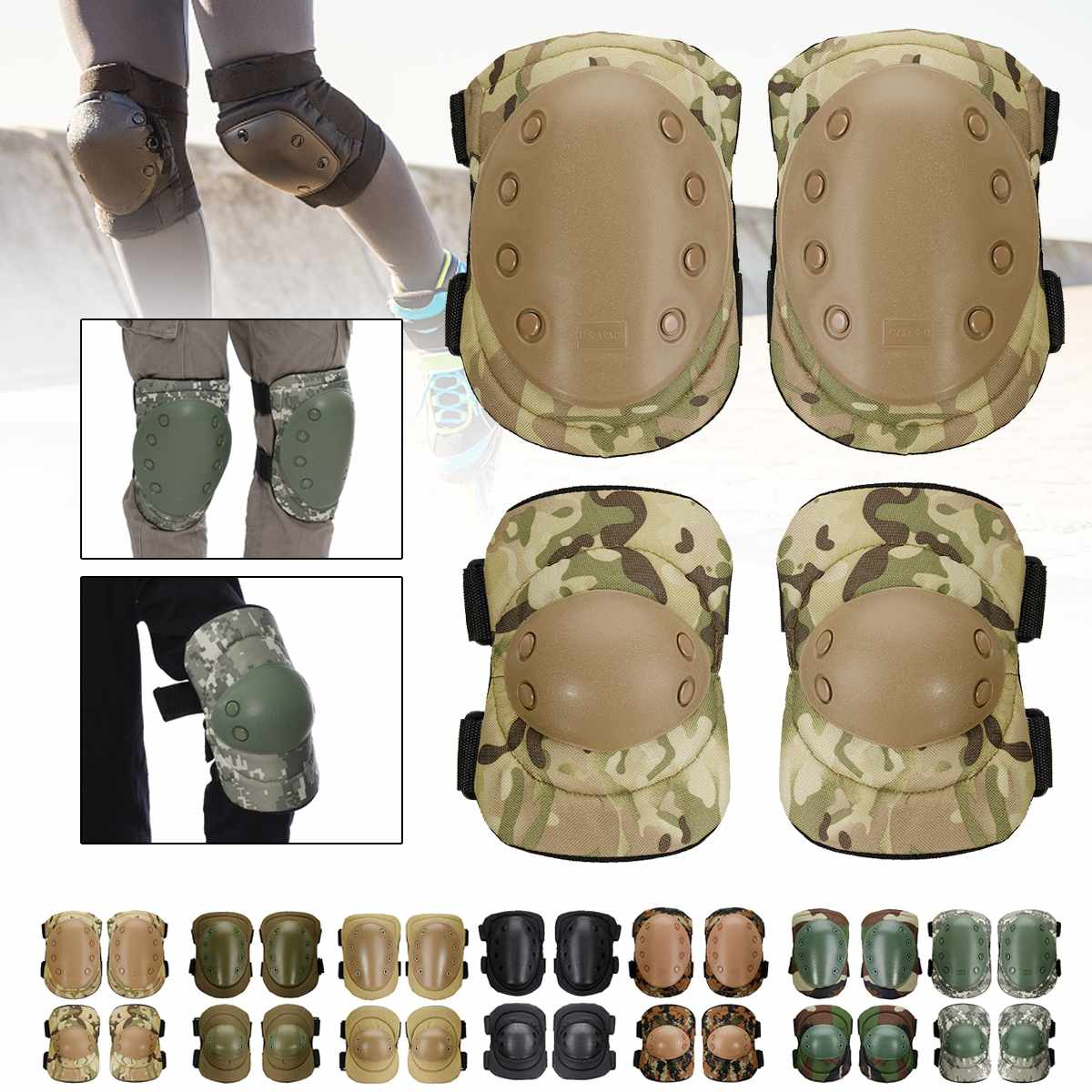 4Pcs/set Army Airsoft Tactical Knee Elbow Pads Set Gear Airsoft Hunting Protection Game Shooting Protective Pads Set