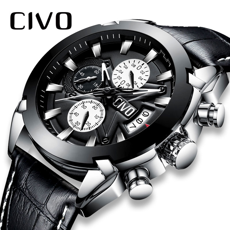 CIVO Mens Sport Watch Waterproof  Chronograph Leather Watches For Men Teenager Date Calendar Analogue Quartz Wrist Watches MensCIVO Mens Sport Watch Waterproof  Chronograph Leather Watches For Men Teenager Date Calendar Analogue Quartz Wrist Watches Mens