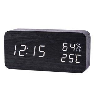 Modern Led Alarm Clock Temperature Humidity Electronic Desktop Digital Table Clocks(China)